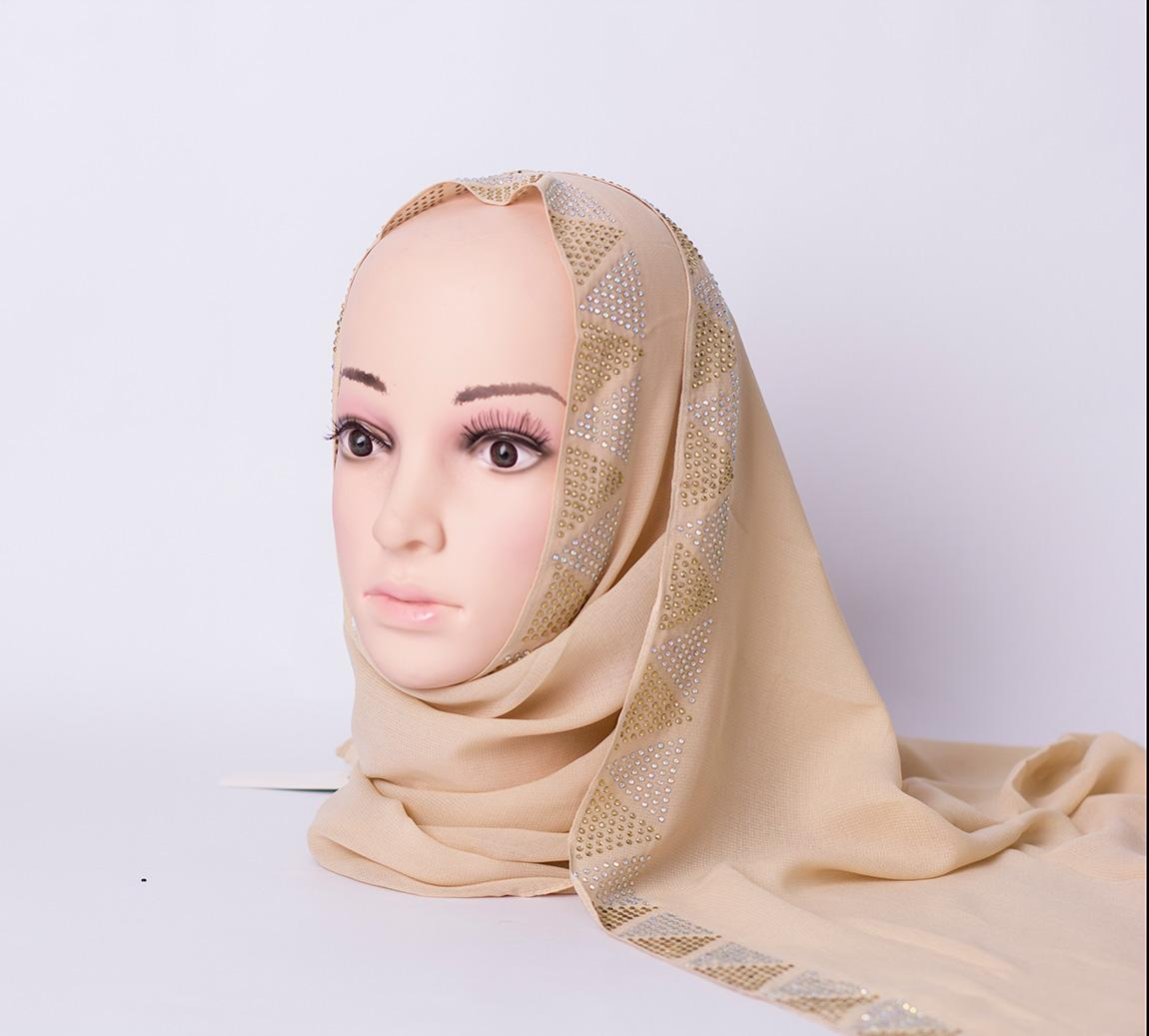 Long scarf with rhinestones - Beige