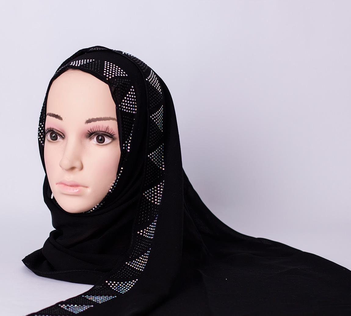 Long scarf with rhinestones - Black