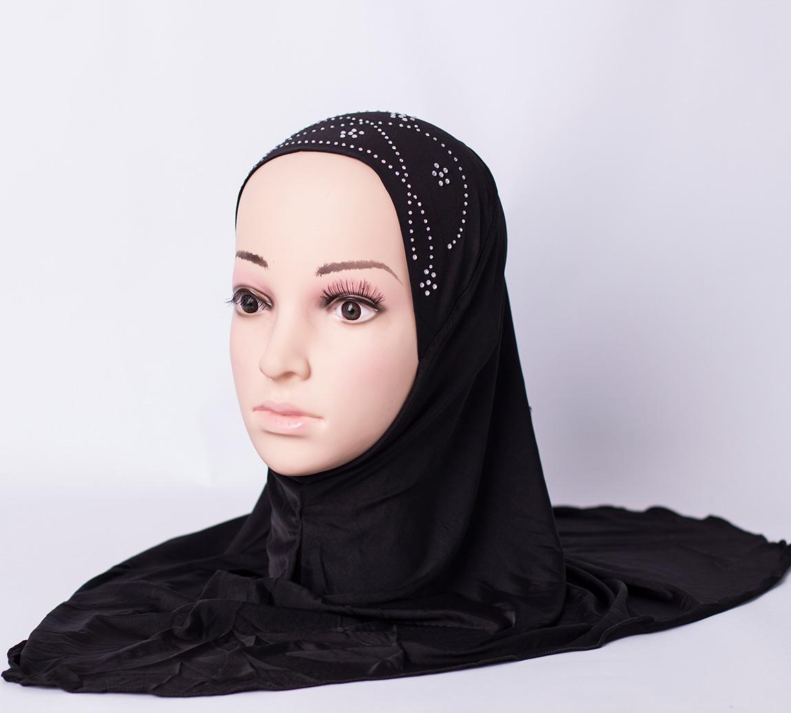 One piece hijab with rhinestones - Black
