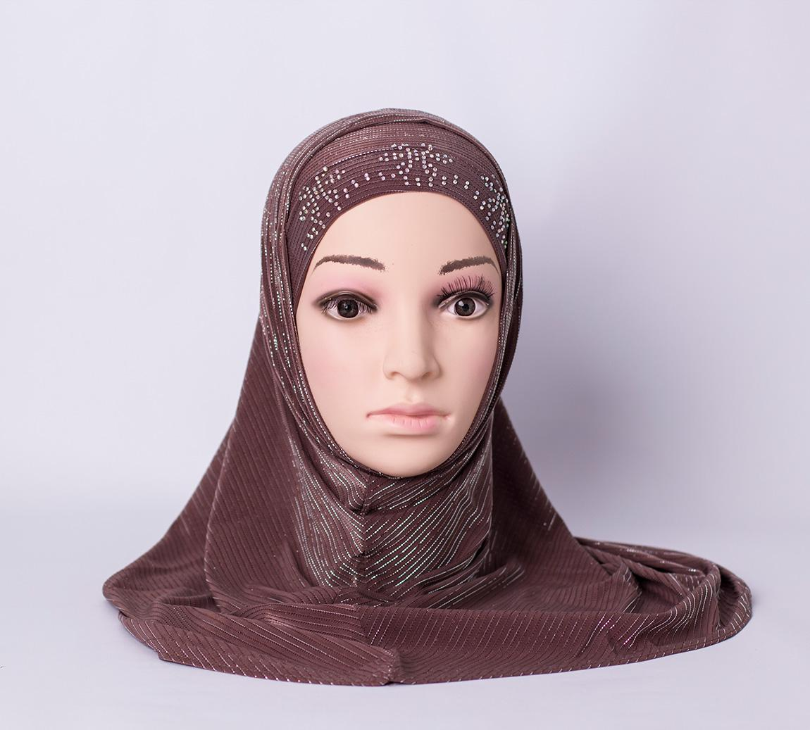 Two piece hijab with rhinestones - Brown
