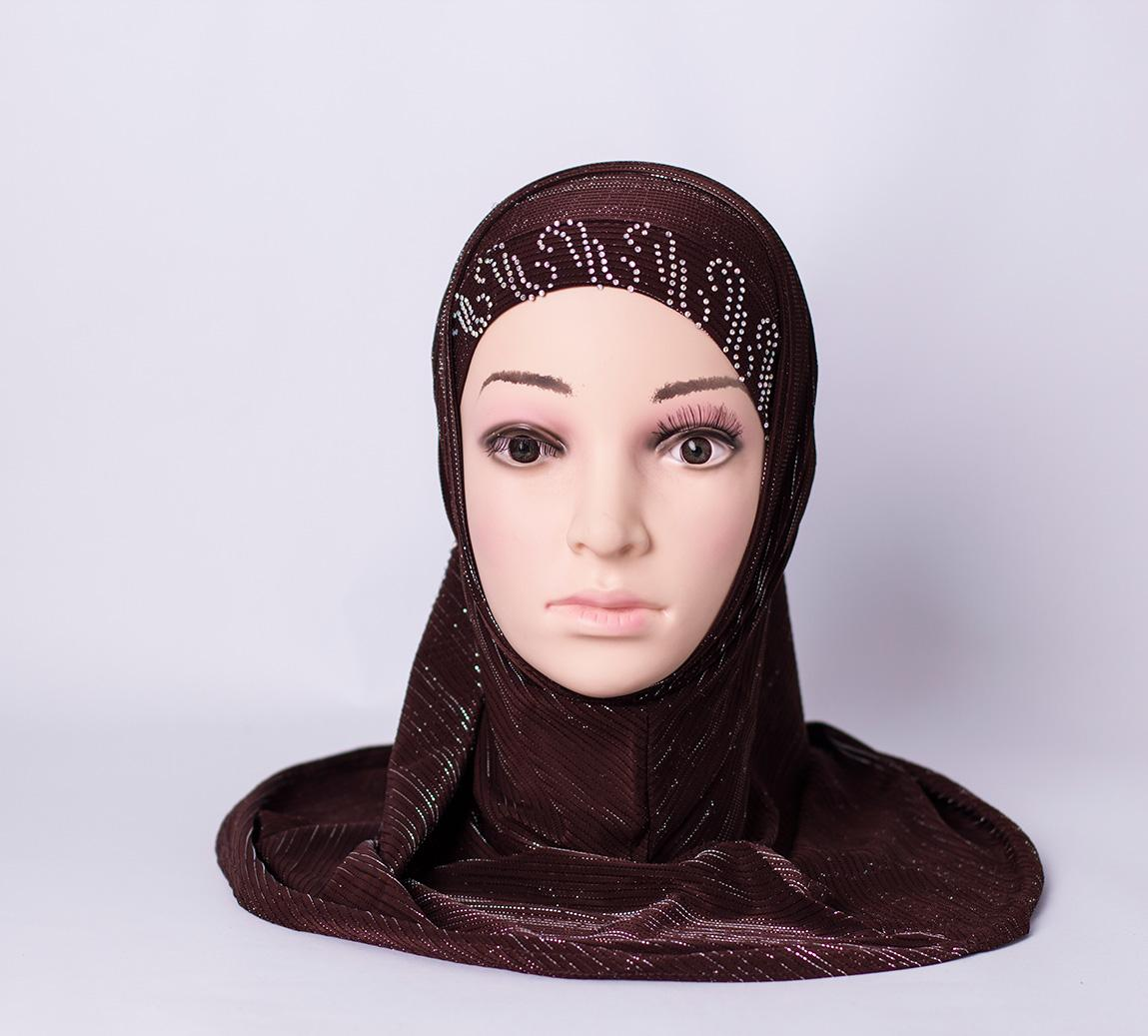 Two piece hijab with rhinestones - Dark-brown
