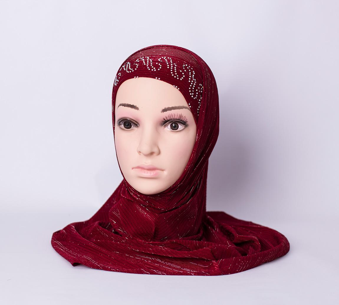 Two piece hijab with rhinestones - Red