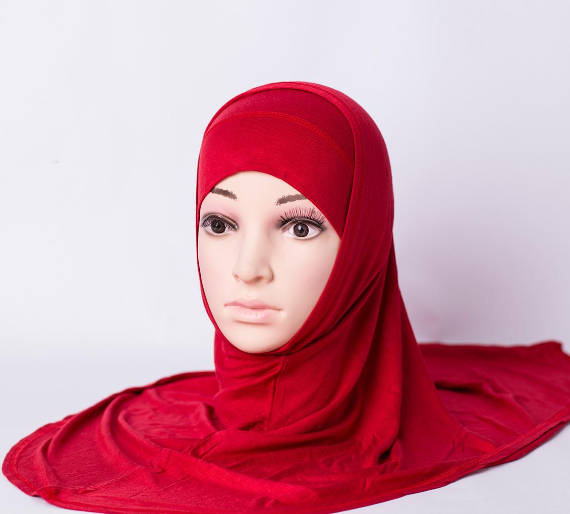 Two piece plain hijab - Red