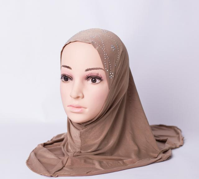 One piece hijab with rhinestones - Brown