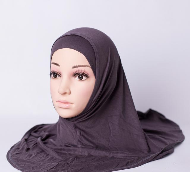 Two piece plain hijab - Dark grey