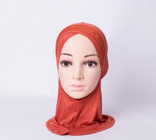 Layered criss cross ninja inner underscarf - Brick-red